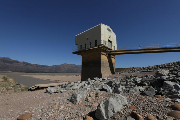 Water levels are seen at about 24 percent full at Voelvlei Dam near Cape Town