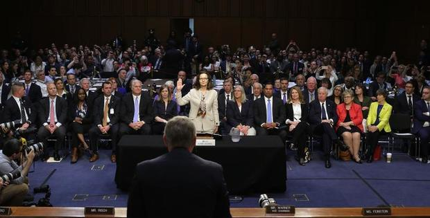 CIA director nominee Haspel is sworn in to testify at her Senate Intelligence Committee confirmation hearing in Washington