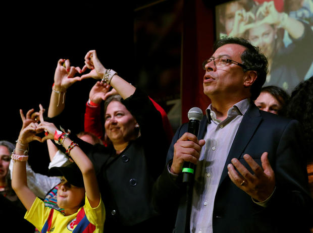 Colombian presidential candidate Gustavo Petro speaks to supporters and the news media after polls closed in Bogota