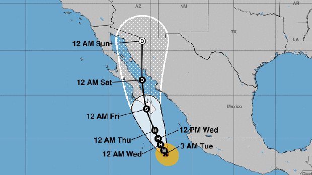 A graphic from the National Weather Service shows Hurricane Bud's projected path as of 5 a.m. ET on June 12, 2018. Times displayed are MT.