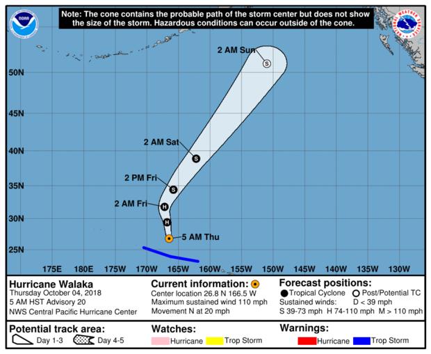 中太平洋飓风中心的地图显示了截至2018年10月4日东部时间上午11点的飓风瓦拉卡的预计路径。