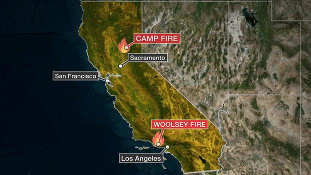 地图显示加利福尼亚州两个大火正在燃烧的地方。