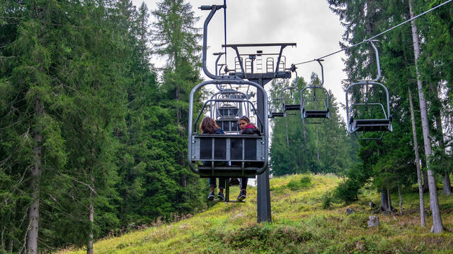 Two sisters In a chairlift