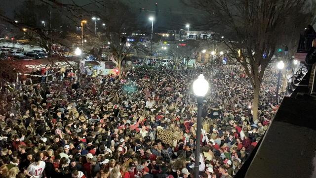 Alabama Crimson Tide fans flooded the streets of Tuscaloosa