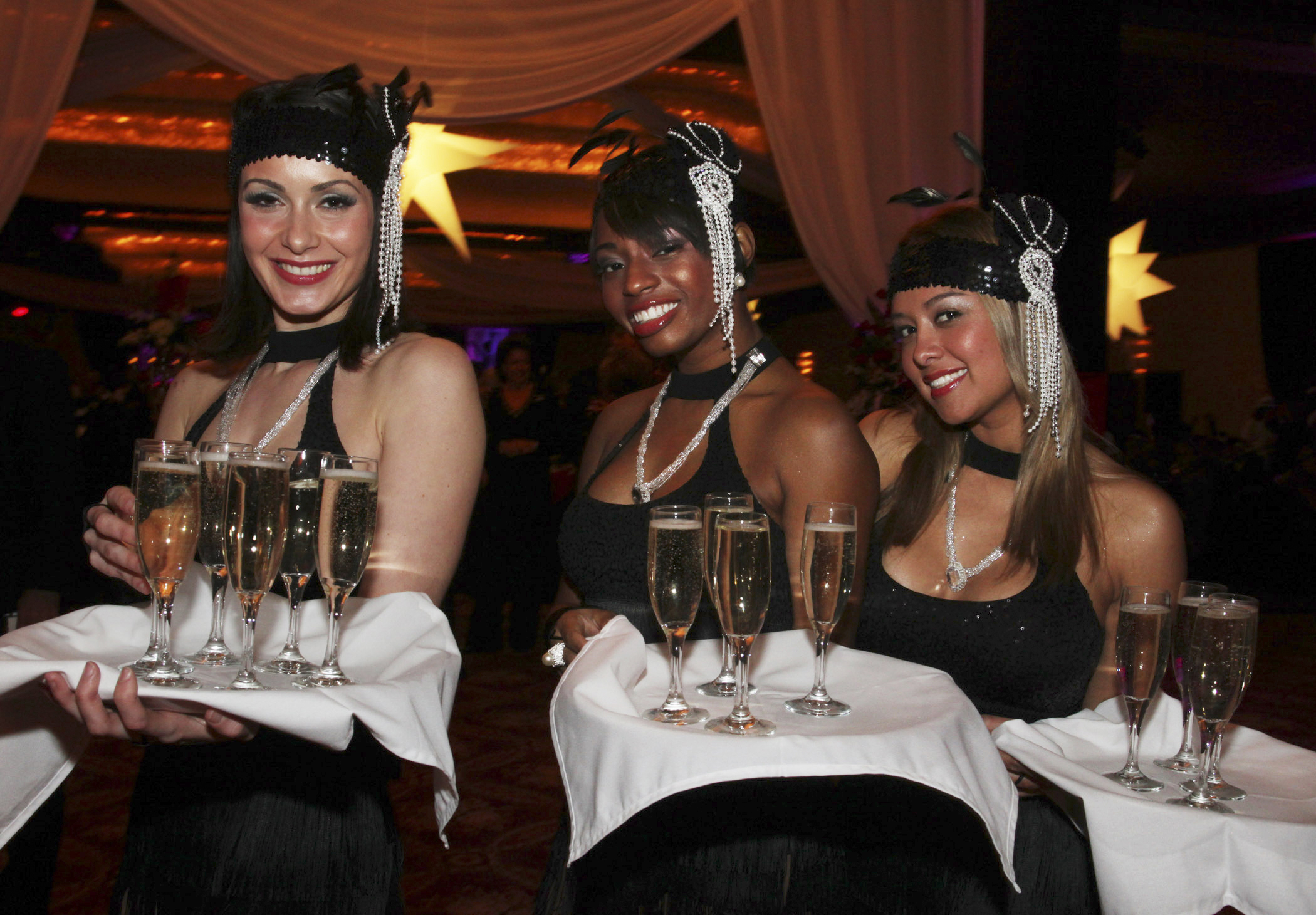 waiters in the casino of Moscow