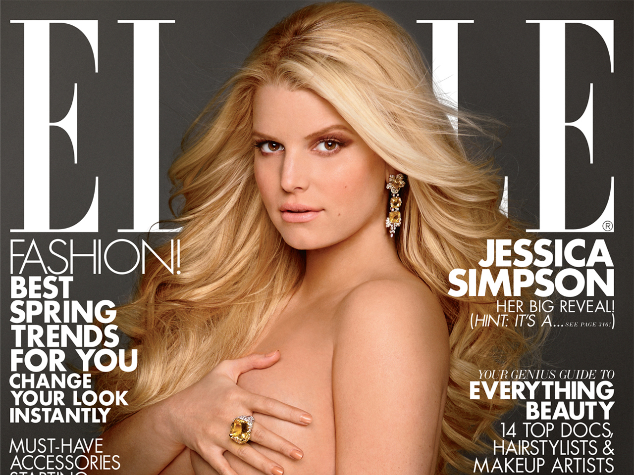 Jessica Simpson poses nude on ELLE cover, says she's having a girl