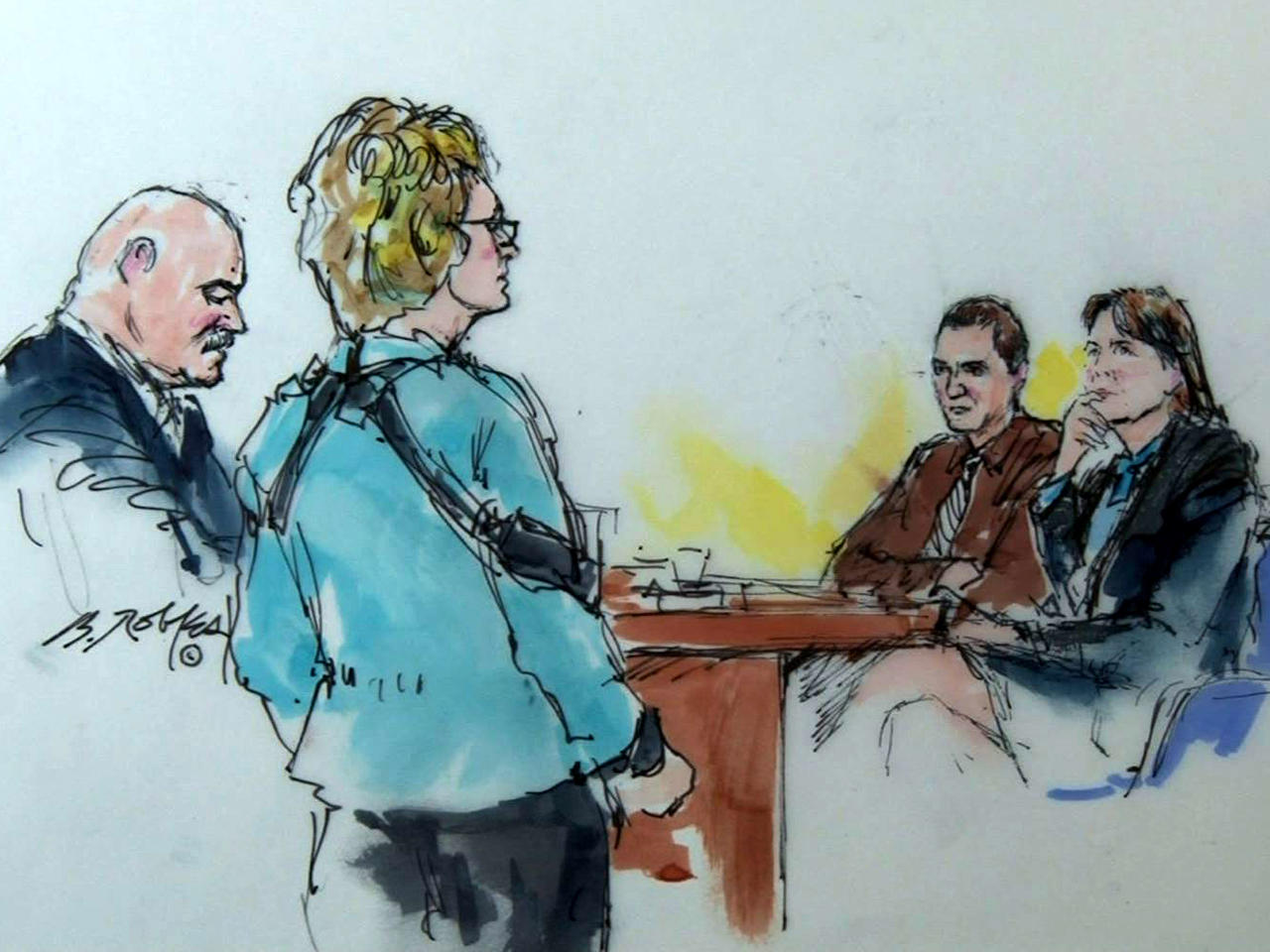 Mark Kelly, left, walks with his wife, former Rep. Gabrielle Giffords, near Jared Lee Loughner and one of his attorneys, Judy Clarke, in federal court in Tucson, Ariz., Nov. 8, 2012, in this sketch by Bill Robles.