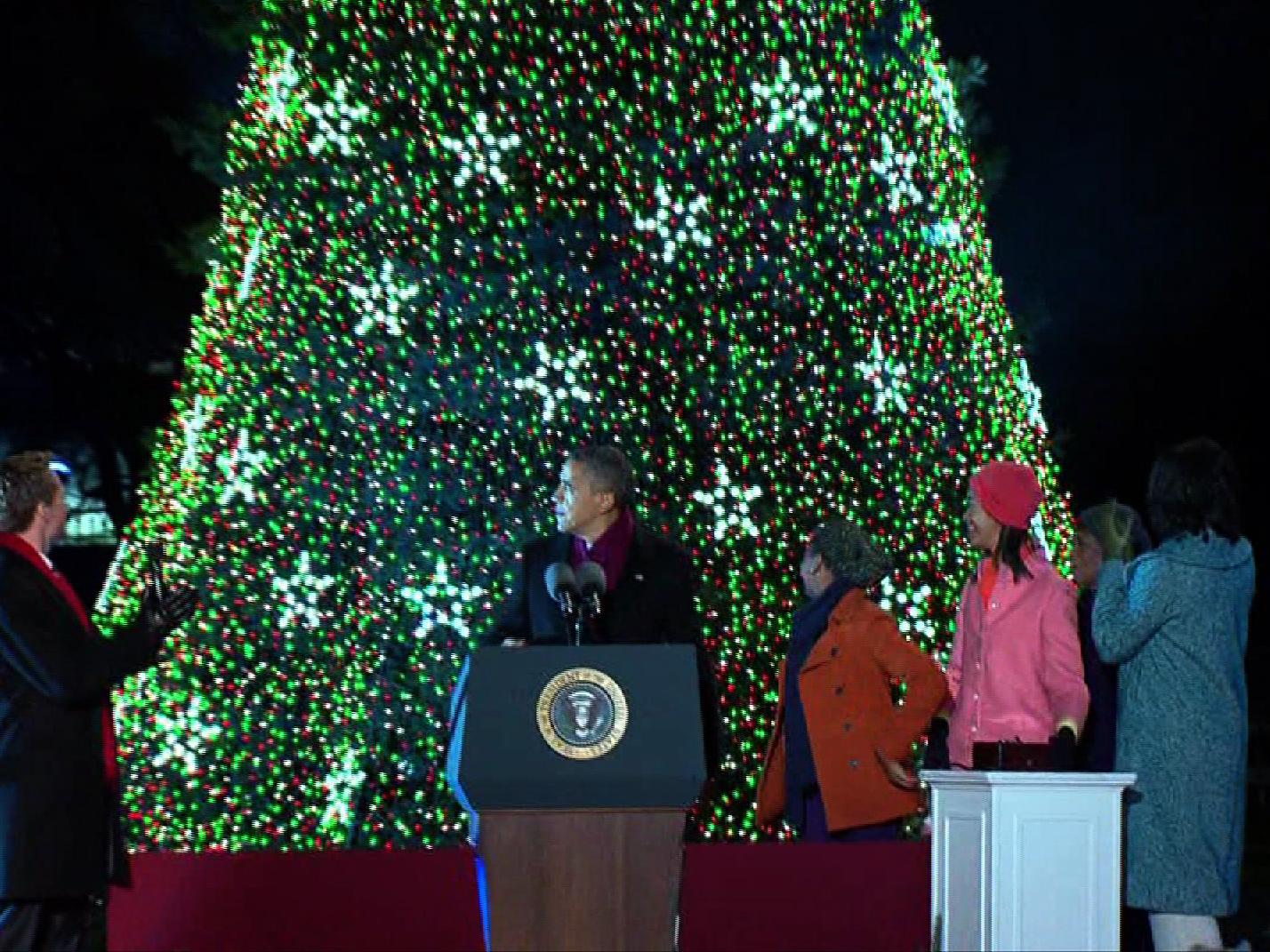 President Obama lights National Christmas Tree - CBS News
