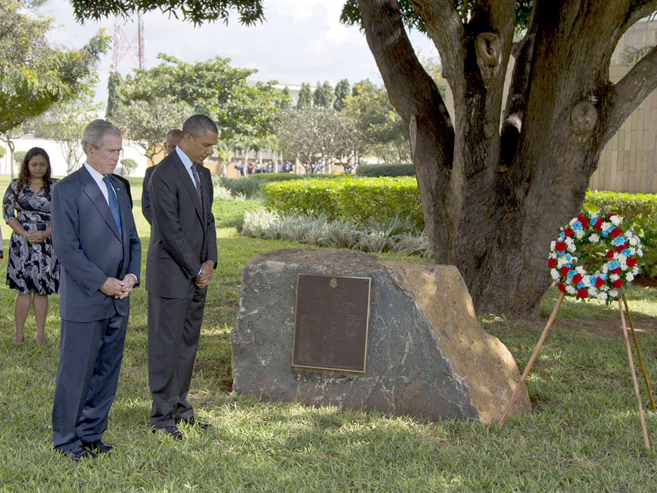 President Obama Joins George W Bush At Tanzania Memorial To End