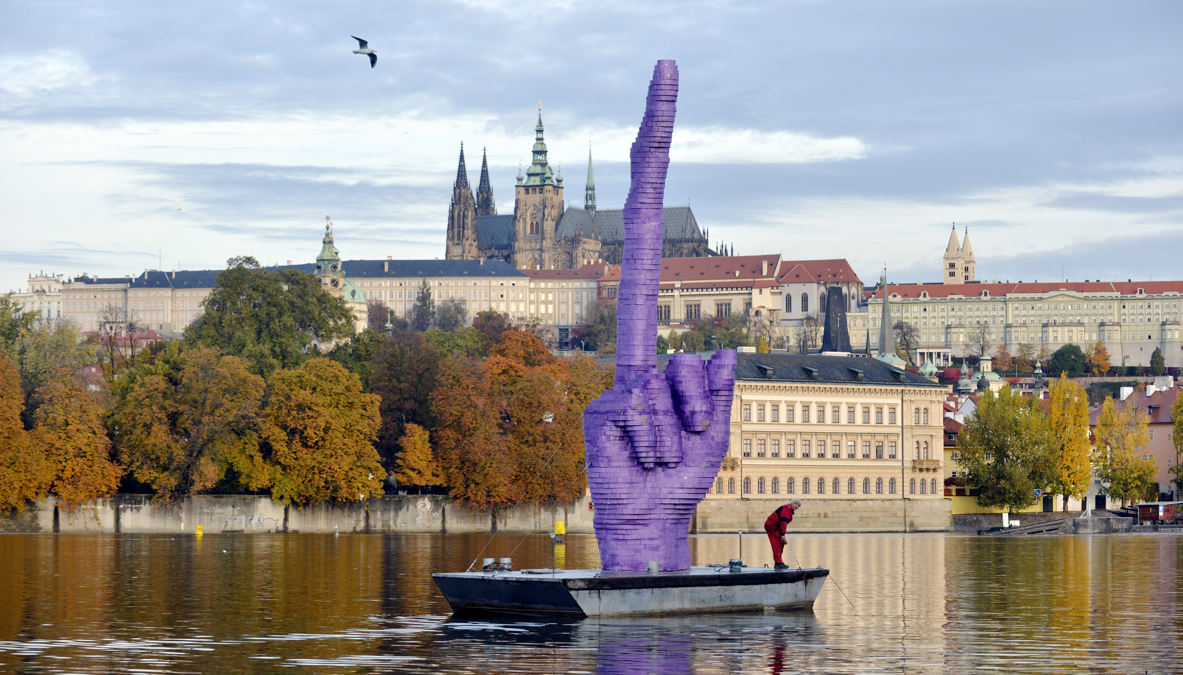 Czech Artist David Cerny Aims Giant Middle Finger At