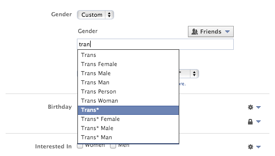 genders other than male and female