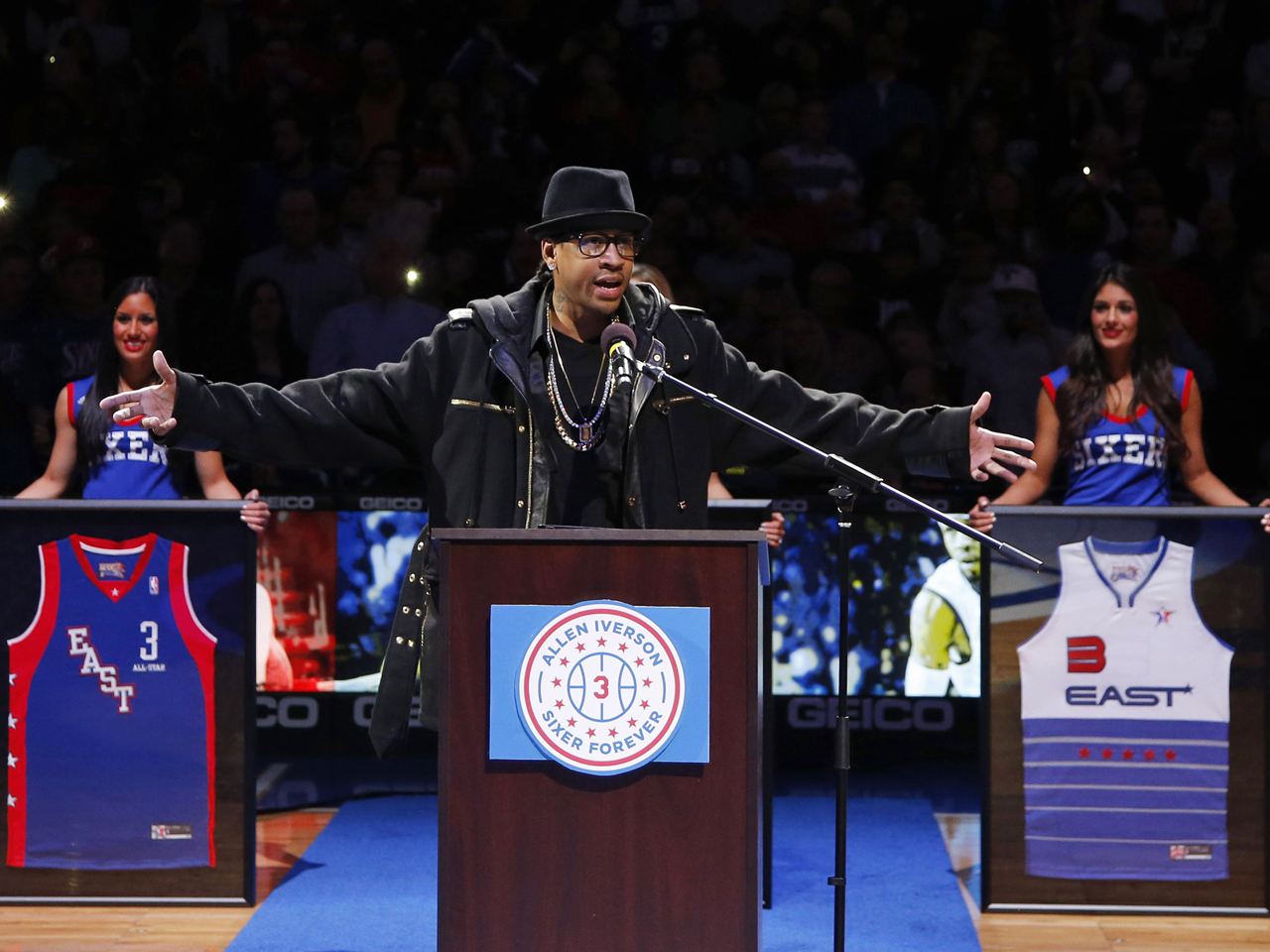 95498a6a648 Allen Iverson sees his No. 3 retired by the 76ers - CBS News