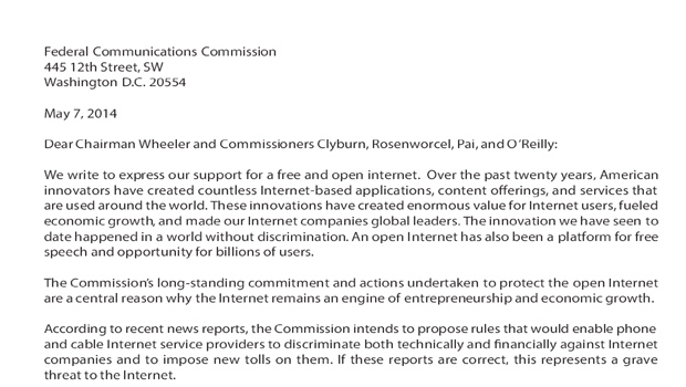 100 Tech Companies Send Letter To Fcc Say Innovation Demands Net