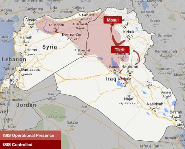 Iraq, Syria map of ISIS territory