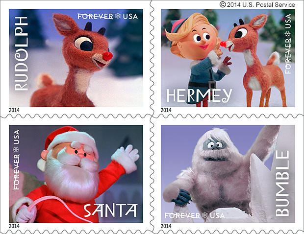 "Four characters from the television special ""Rudolph the Red-Nosed Reindeer"" are being featured on U.S. Postal Service stamps for the 2014 holiday season."