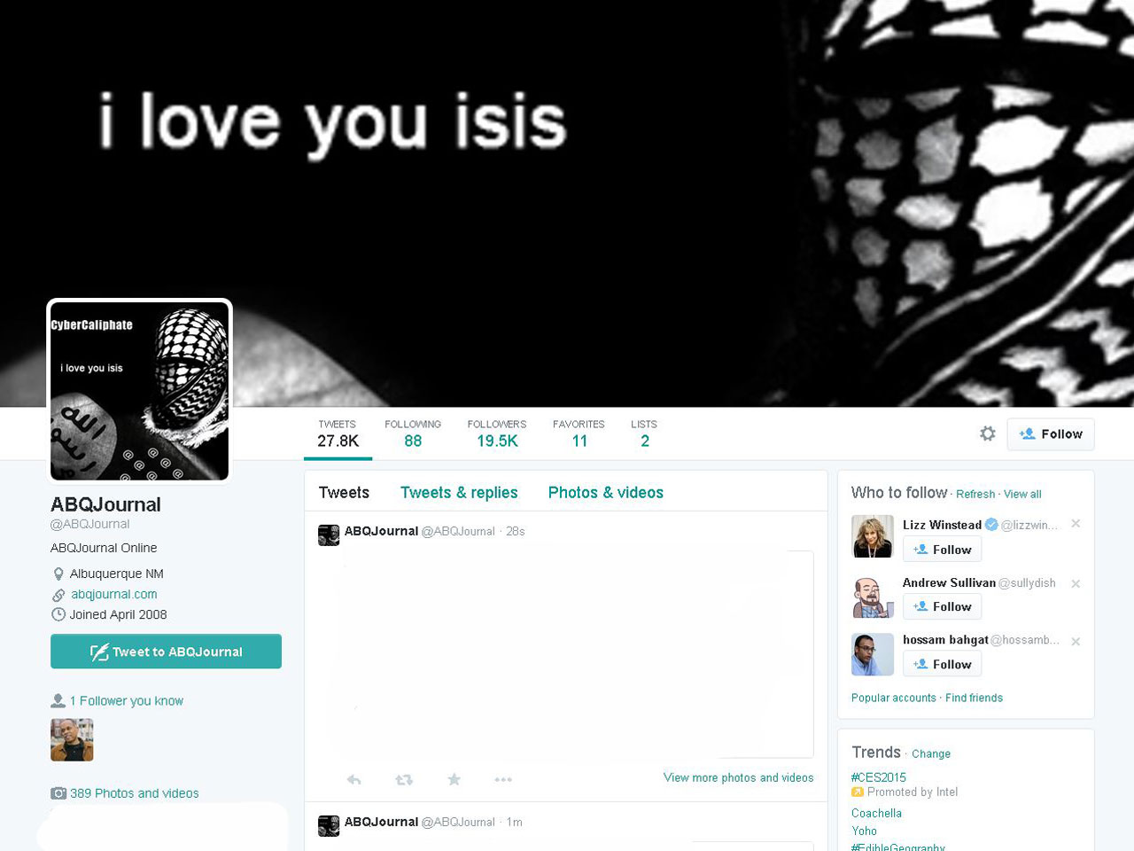News websites, Twitter feeds hacked with pro-ISIS message - CBS News
