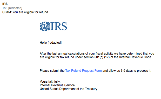 Image result for example of phishing attack irs