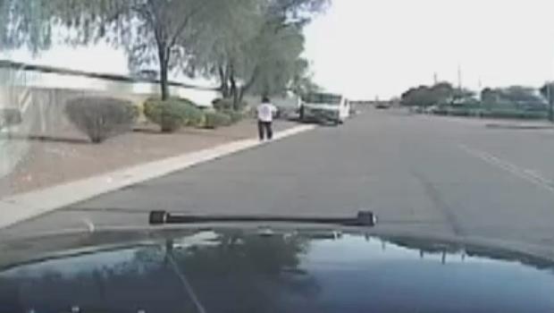 Dashcam video shows Arizona cop car ramming armed suspect