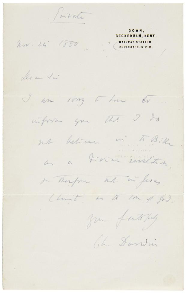 Darwin letter reveals i do not believe in the bible cbs news spiritdancerdesigns Gallery