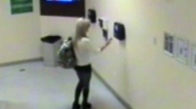 Shauna Tiaffay is seen on casino surveillance video clocking out at 3:01 a.m.