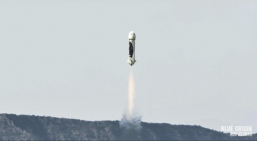 112415newshepardlaunch1 - Watch Jeff Bezos Blue Origin Launch Its New Shepard Rocket