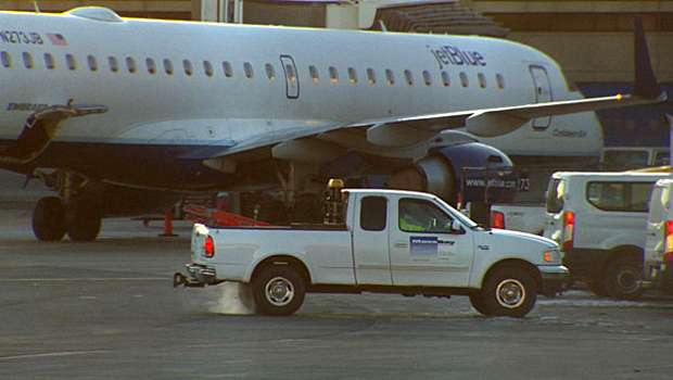 JetBlue plane at Boston airport hit by van while parked at
