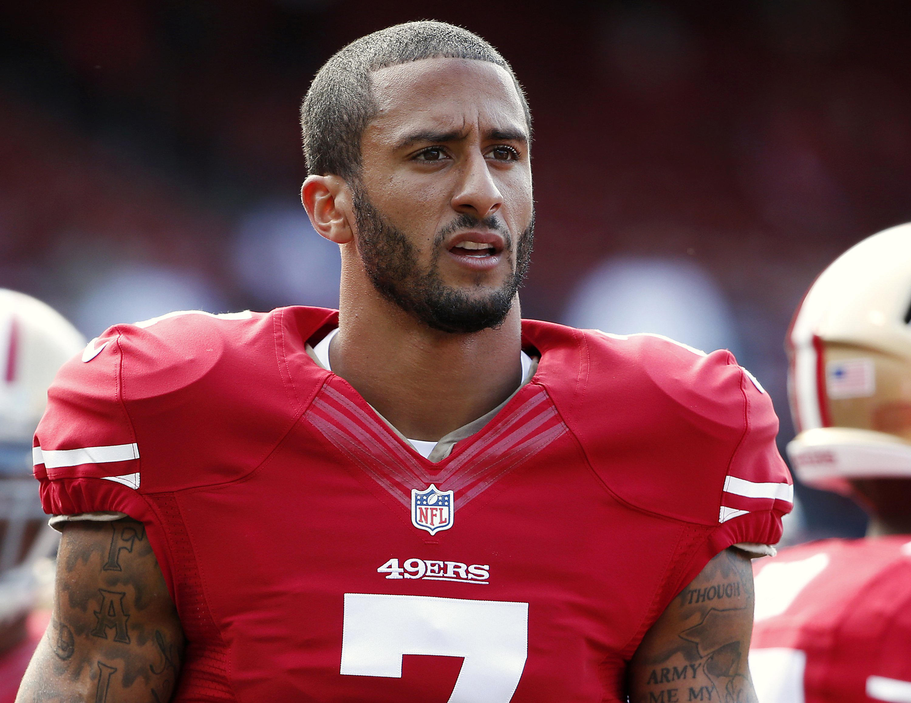 adc748484 San Francisco 49ers  Colin Kaepernick refuses to stand for national anthem