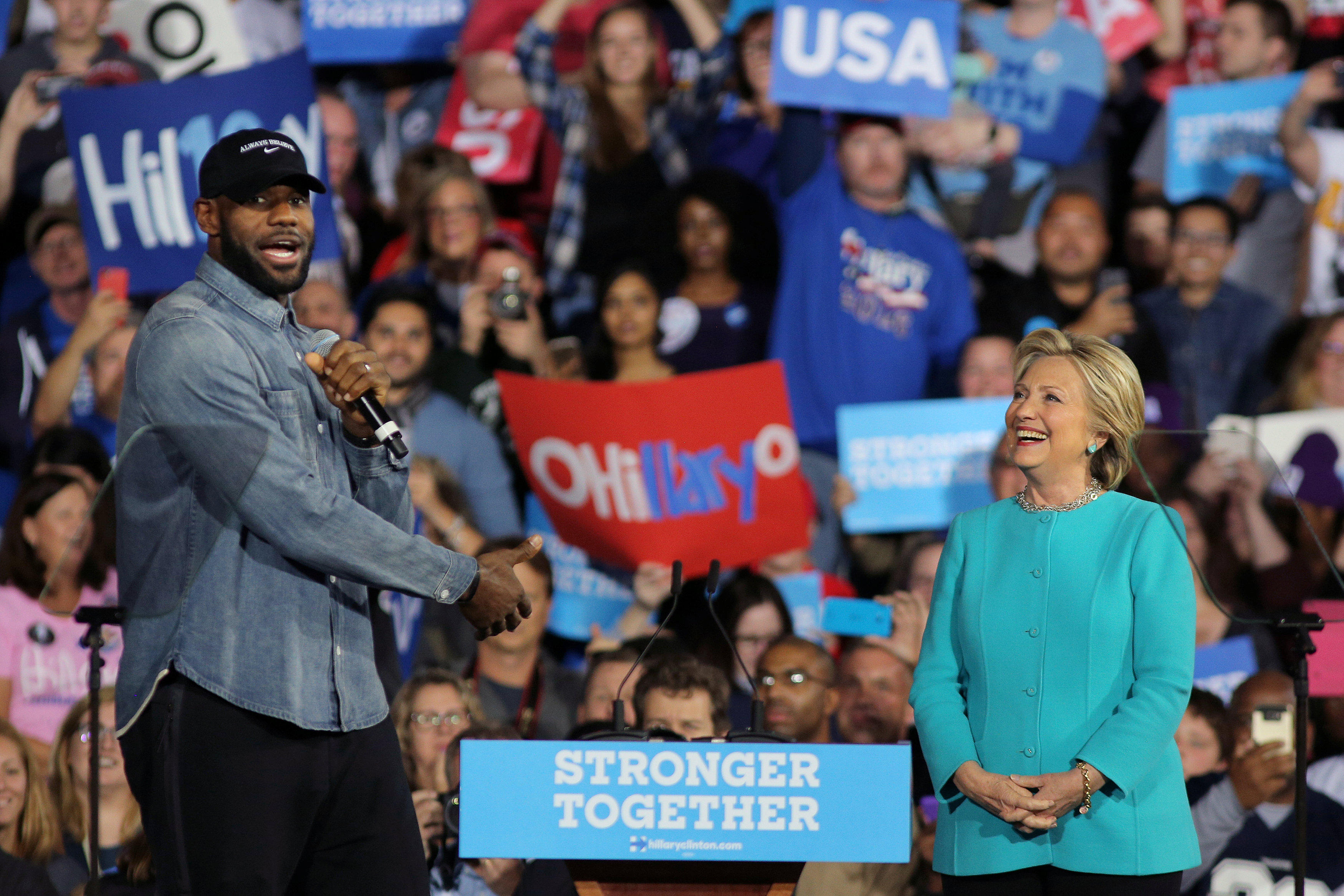 LeBron James, J.R. Smith campaign with Hillary Clinton in ...