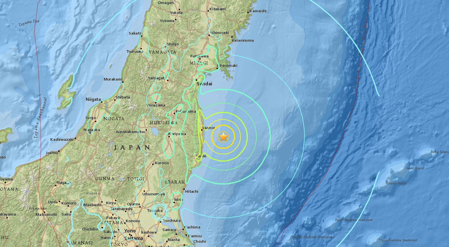 Japan Earthquake Map Today.Tsunami Warning Issued After Massive Earthquake Off Fukushima In
