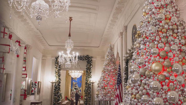 michelle obama debuts 2016 white house holiday decorations cbs news - White House Christmas