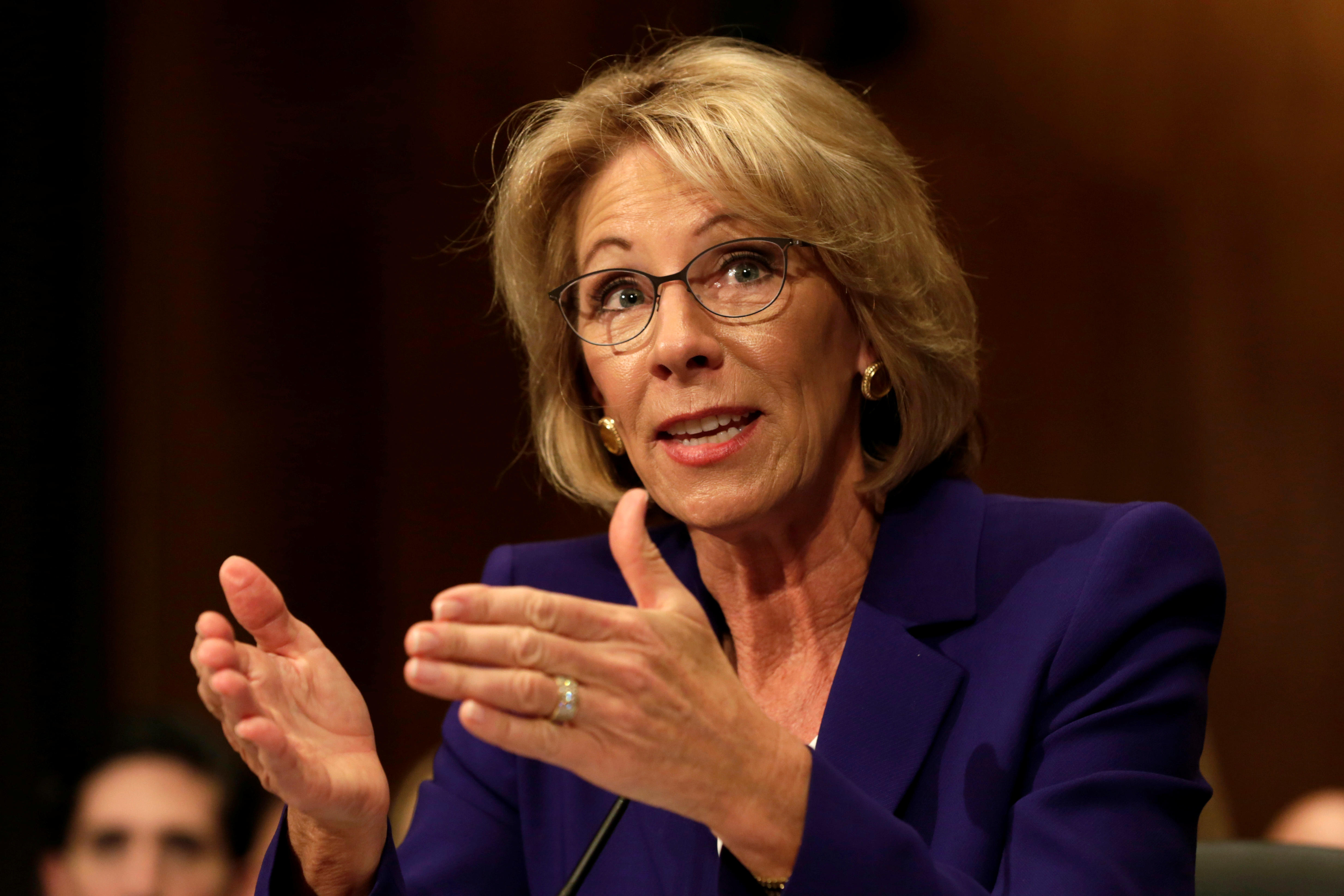 Betsy Devos Trumps Education Pick Plays >> Trump Education Pick Blames Staff For Poor Word Choice On Twitter