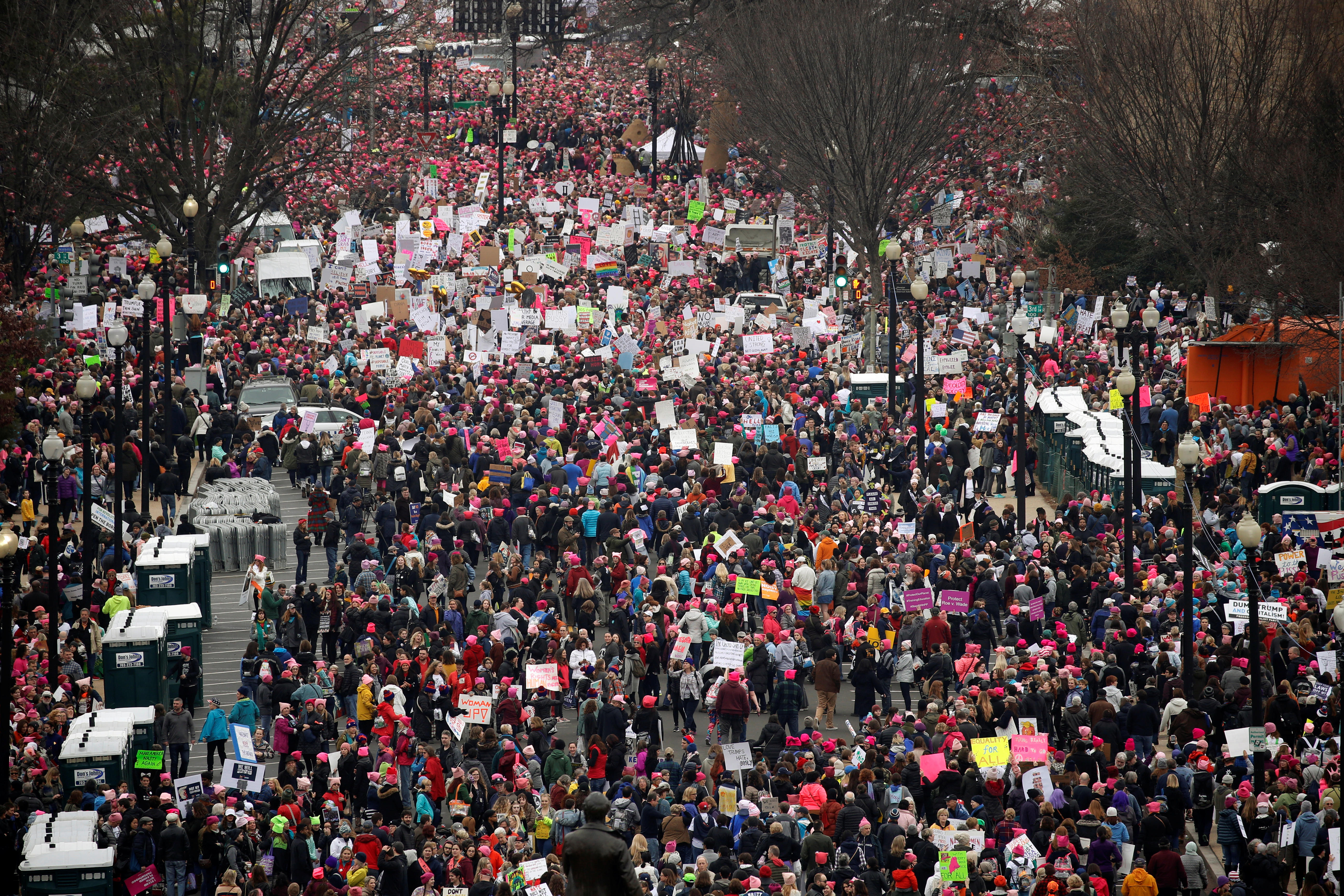 a2906fcc731 Women s March  Massive turnouts prompt change of plans in D.C. and ...