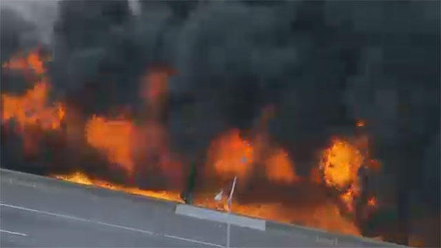 atlanta i 85 overpass collapses from massive fire cbs news
