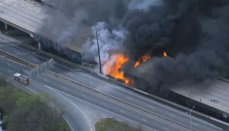 I 85 Collapse Atlanta Map.Traffic Horrors Expected After Fire Caused I 85 Overpass Collapse In