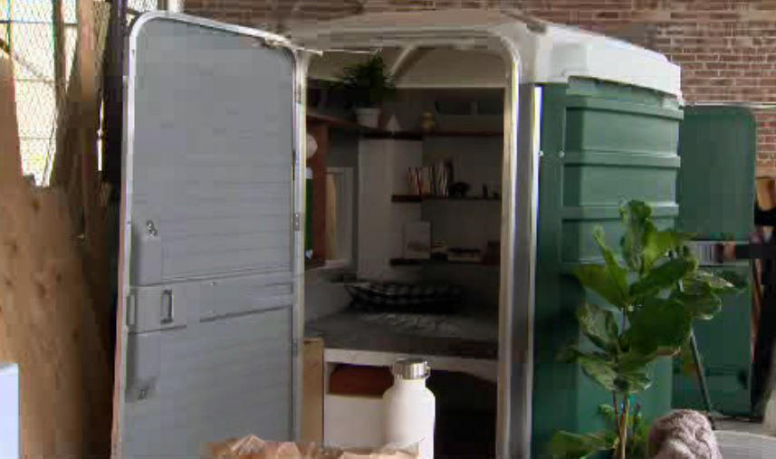 Portable toilets converted into homes for homeless cbs news for Porta john rental