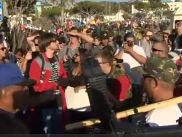 Anti-immigration group dwarfed by counter-demonstrators at beach