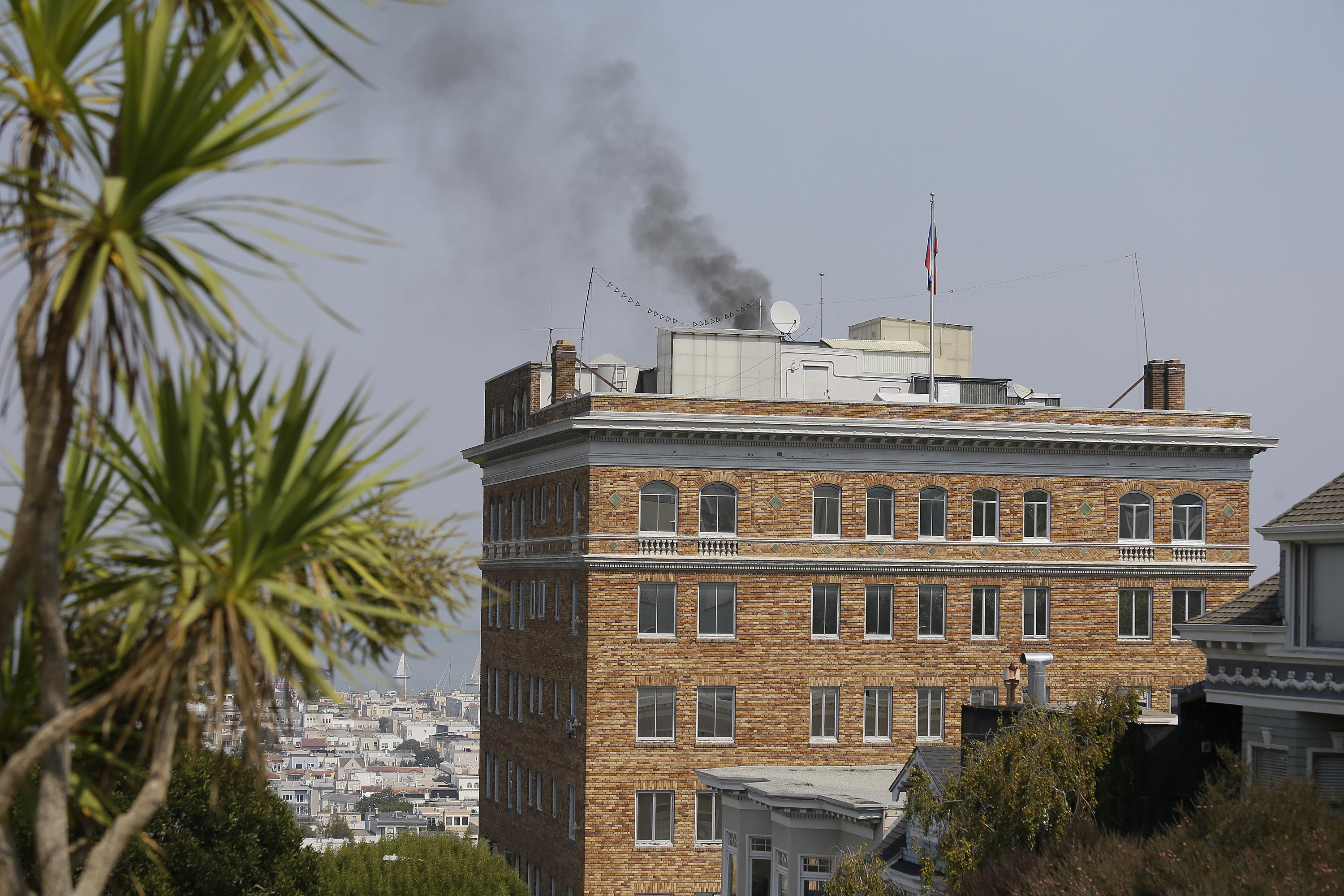 Black smoke pours from chimney at Russian consulate in San