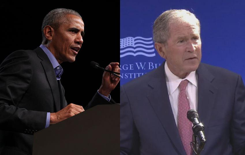 Former Presidents Obama and Bush appear to rebuke Trump at separate events