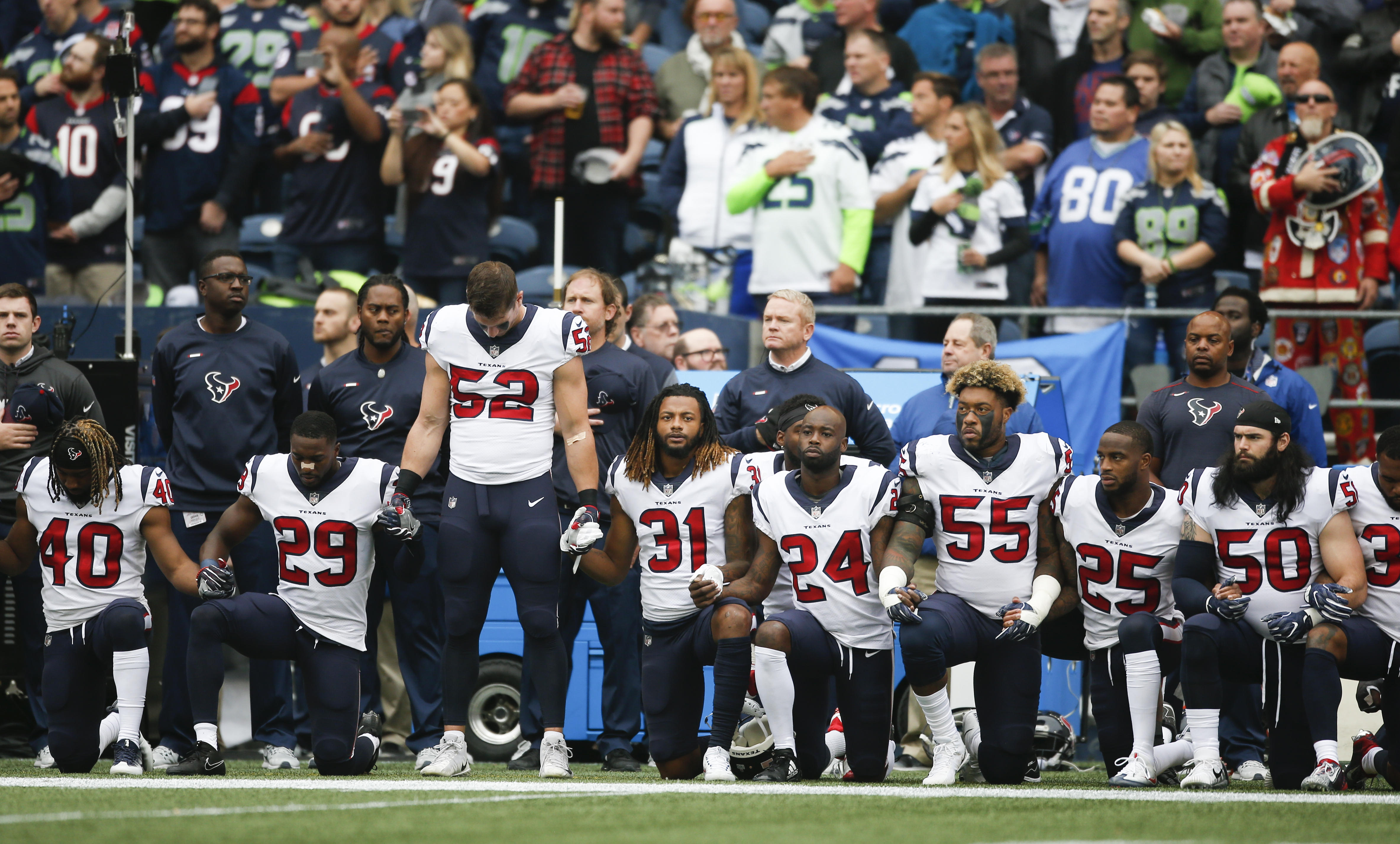Nearly Entire Texans Team Kneels During National Anthem