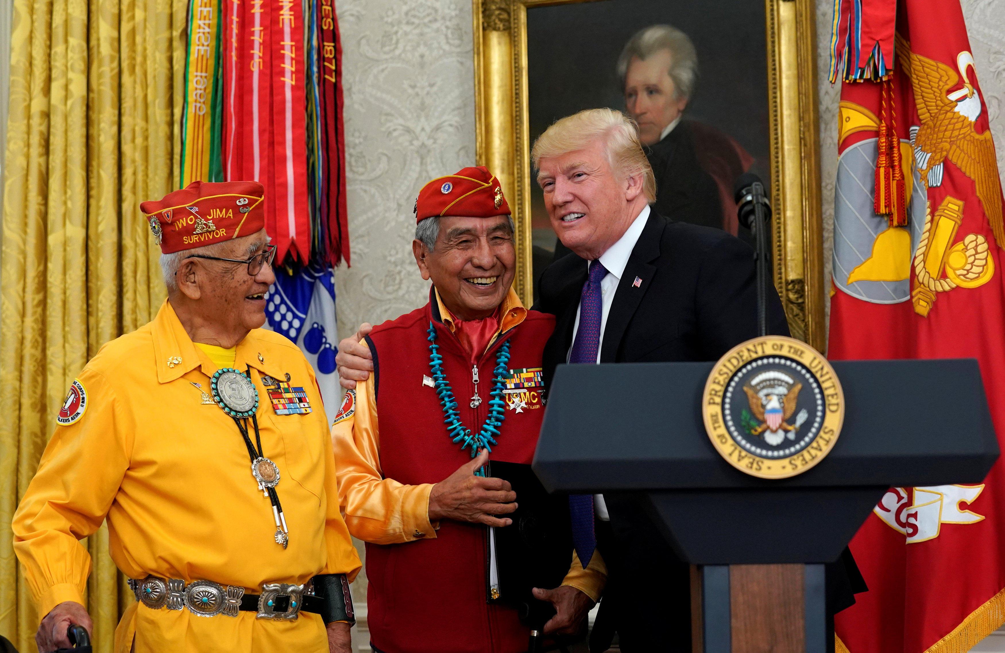 trump makes pocahontas remark referring to sen warren at navajo
