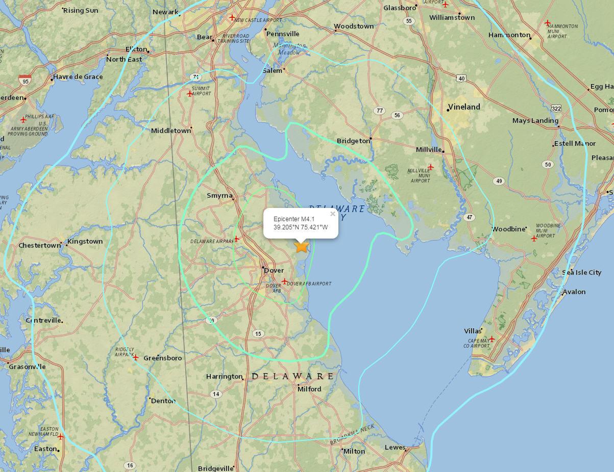 Dover De Zip Code Map.Delaware Earthquake Today 4 1 Magnitude Quake With Epicenter Near