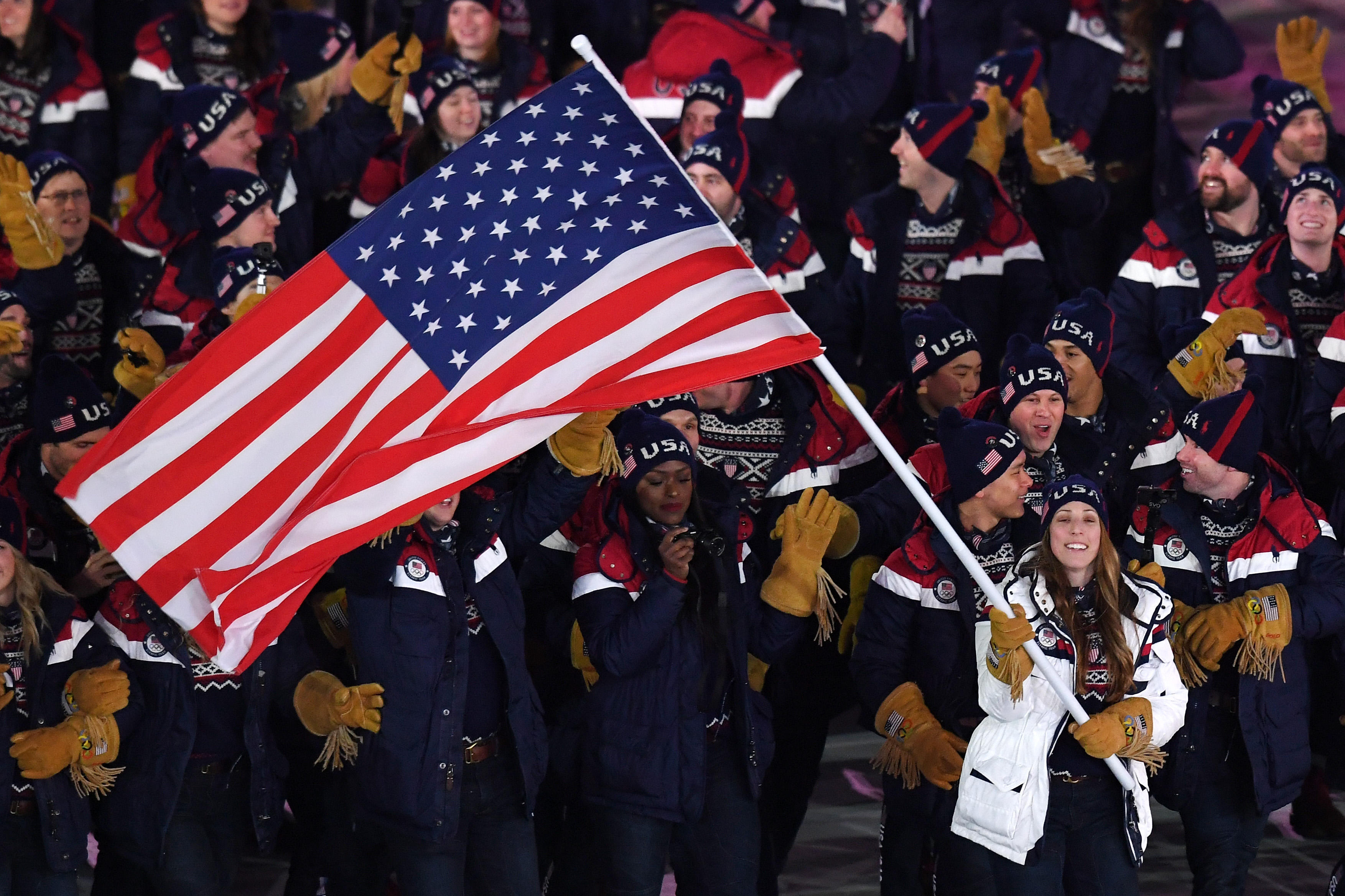 fc86ab62 Olympics Opening Ceremony: Erin Hamlin leads US delegation into ...