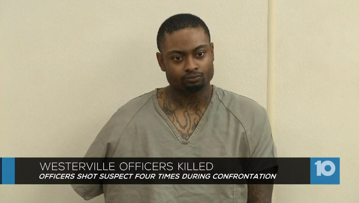 Suspect in slaying of 2 Ohio police officers jailed without