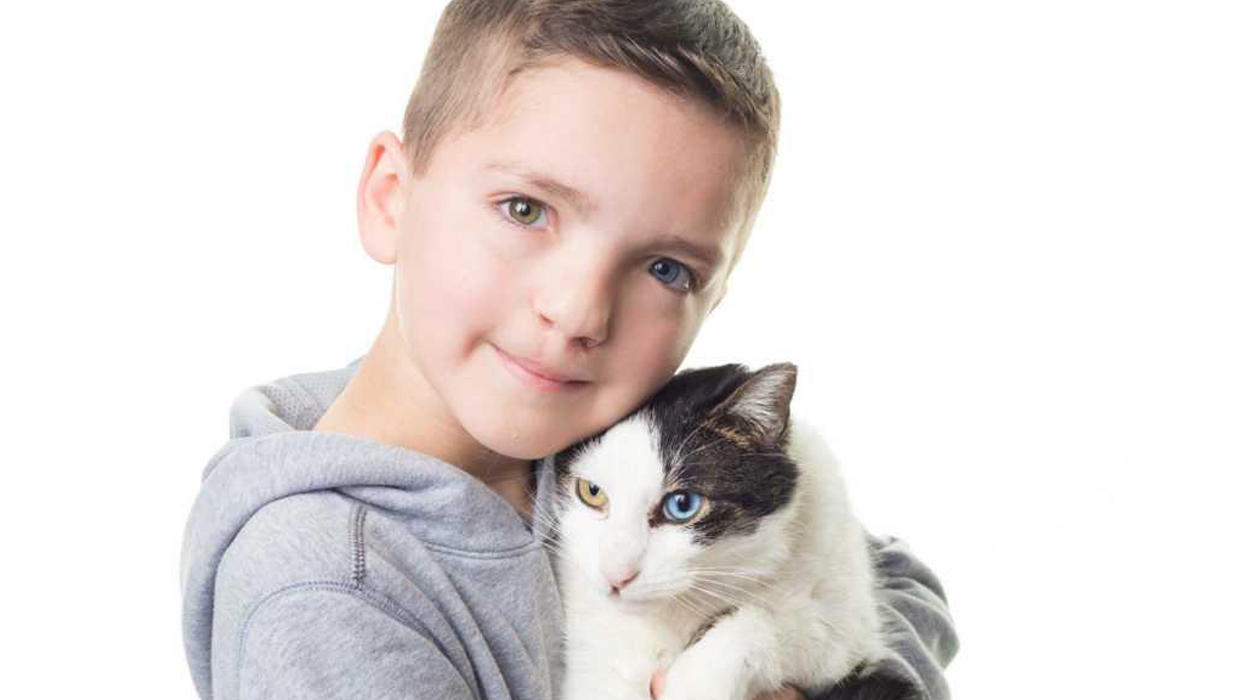 bullied boy rescues cat with same rare eye condition and cleft lip