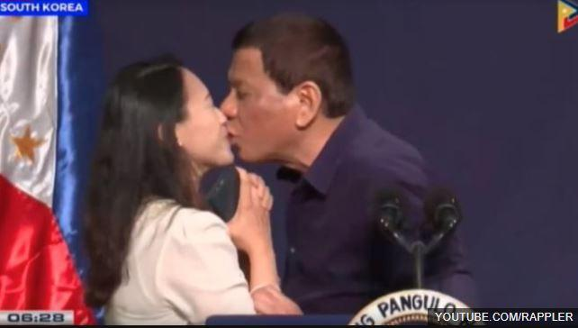 Rodrigo Duterte of Philippines draws fire for kiss with overseas