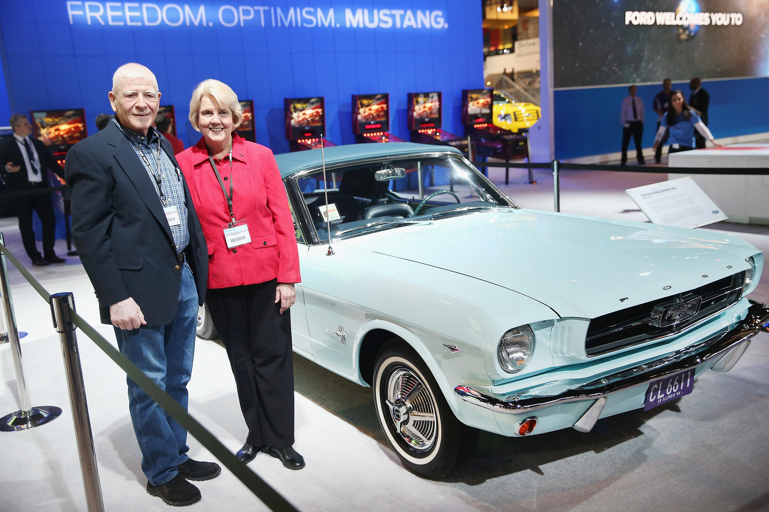First Ford Mustang ever sold: Gail Wise, owner of sky blue