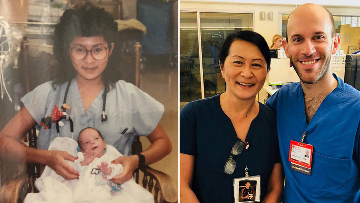 c2dbb2eb7cb Nurse reunited with NICU baby she cared for 28 years ago – he's now a  resident at the same hospital
