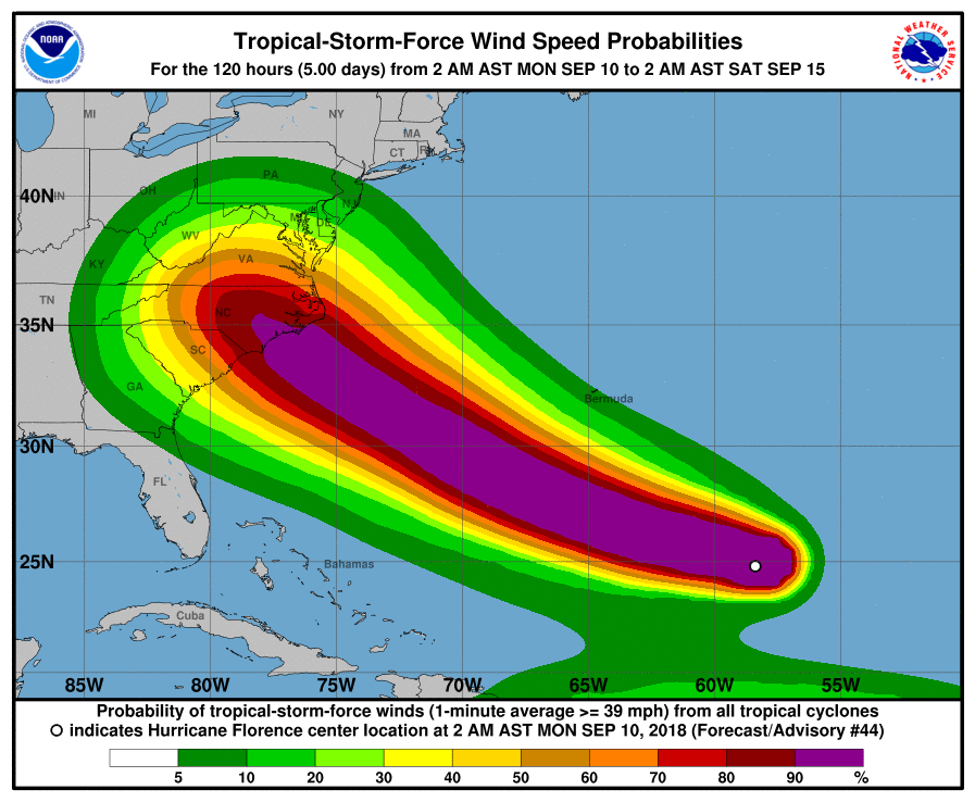 Hurricane Florence Upgraded To Category 4 As It Heads On A North - Us-navy-hurricane-tracking-map