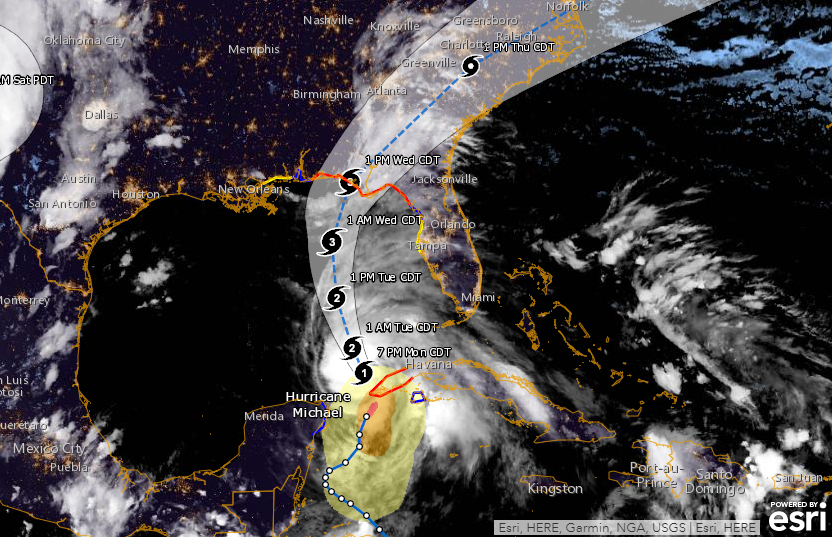Florida Weather Map In Motion.Hurricane Michael Trajectory Latest Path Causes Alabama To Join