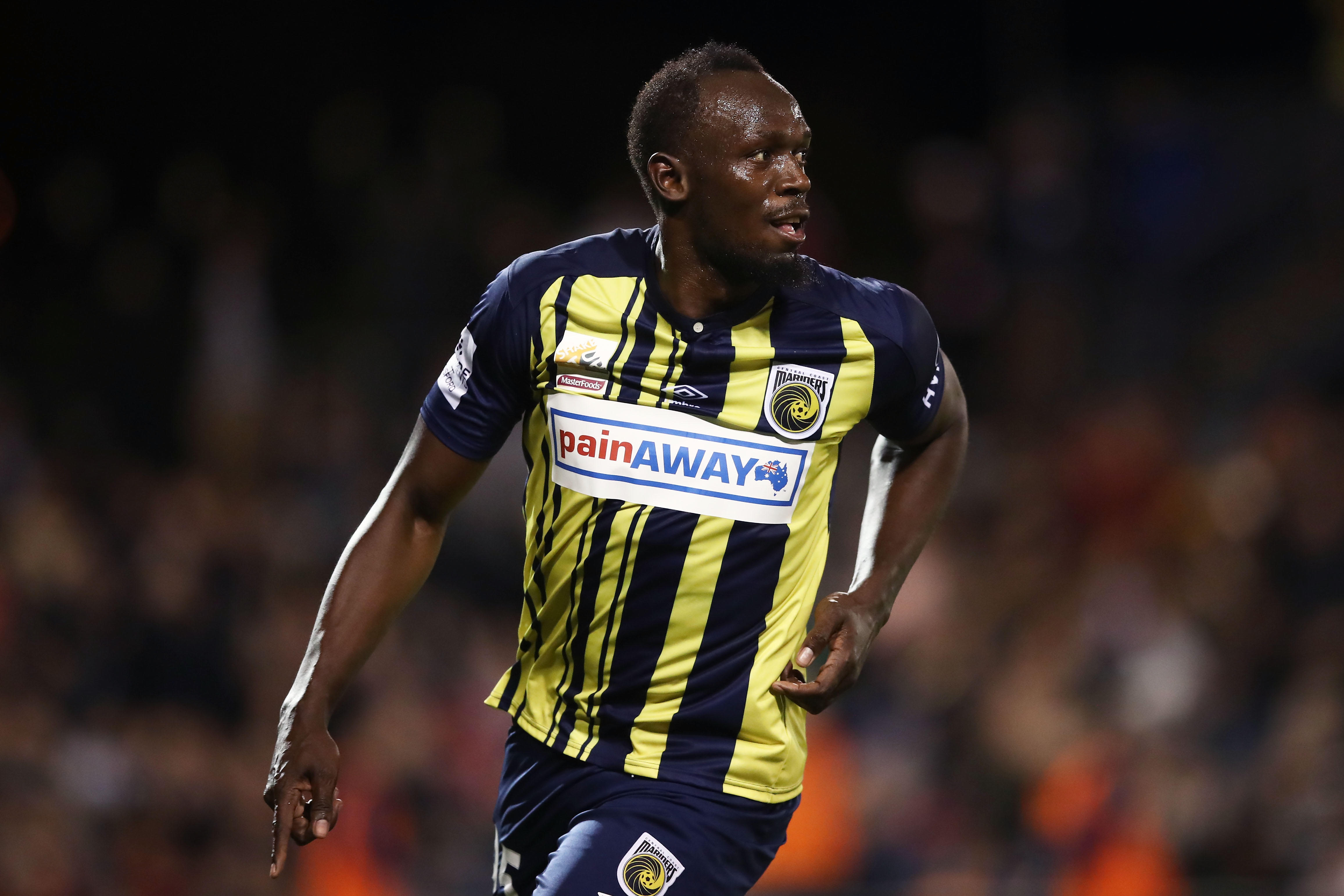 fbfcd4f2b13 Usain Bolt  Soccer debut with Central Coast Mariners in Australia A ...